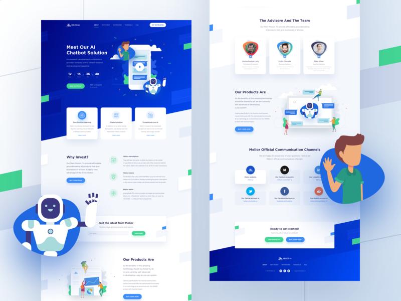 Melior – Landing page invest e-commerce ai landing chatbot chat bot crypto ico blockchain melior