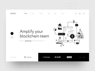 Exyte – Hero block studio agency portfolio artificial intelligence virtual reality mobile vr ar development blockchain exyte