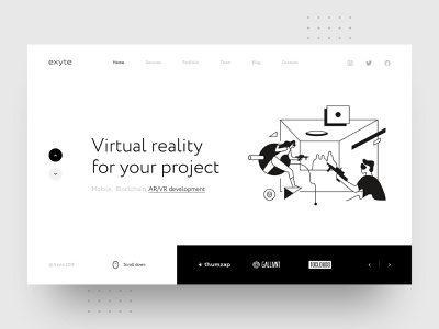 Exyte  – Virtual Reality header navigation hero ar vr blockchain mobile minimalistic case portfolio augmented reality development virtual reality agency