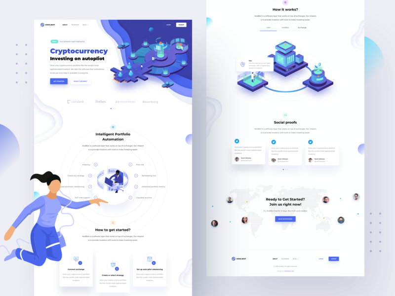 HodlBot – Landing page by Anton Avilov for Anthony's Lab on Dribbble