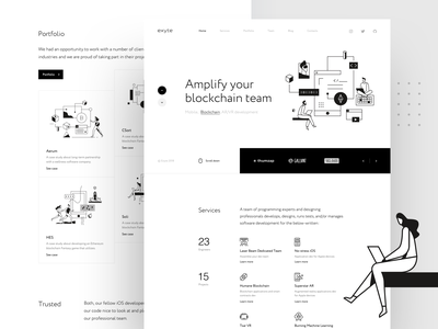 Exyte – Landing page product design web design crypto blockchain artificial intelligence virtualreality studio portfolio mobile development vr ar agency