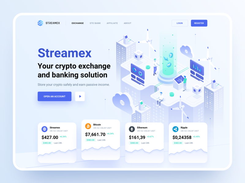 Streamex – Hero block hero block trading cryptocurrency market blockchain btc isometric platform bank banking ethereum bitcoin coins exchange crypto