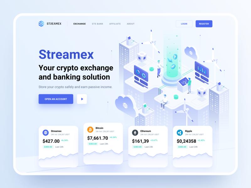 Streamex – Hero block hero block trading cryptocurrency market blockchain btc isometric platform bank banking ethereum bitcoin coins exchange crypto