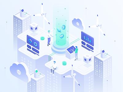 Streamex – Exchange Illustration city cloid isometric platform market trading exchange coins ethereum eth bitcoin btc crypto banking