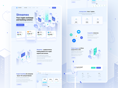 Streamex – Landing page trading platform market isometric exchange wallet ethereum cryptocurrency crypto coins btc blockchain bitcoin banking bank