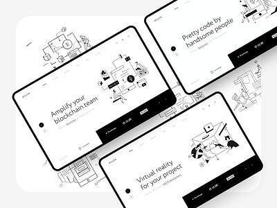 Exyte – Hero Blocks crypto reality virtual studio portfolio mobile dev development blockchain vr ar agency