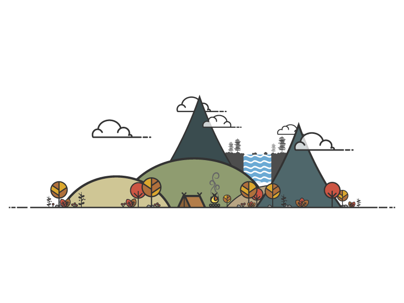 Lonely Camper #3 - Fall Campsite Illustration autumn fall outdoor camping minimal illustration vector design