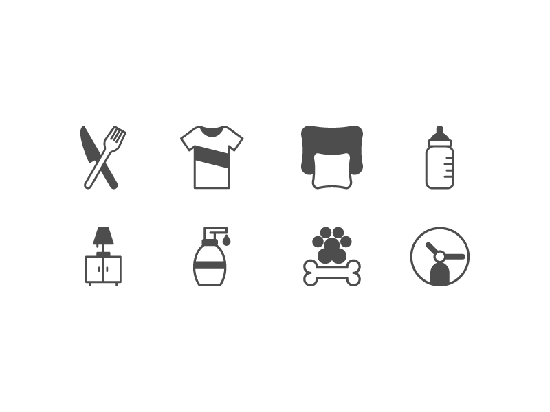 Donation App Icons volunteer time pet care toiletries furniture supplies baby bedding clothes food charity donation icon branding illustration vector minimal design