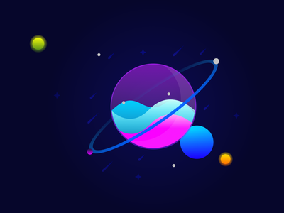 Planet and Moons vector illustration