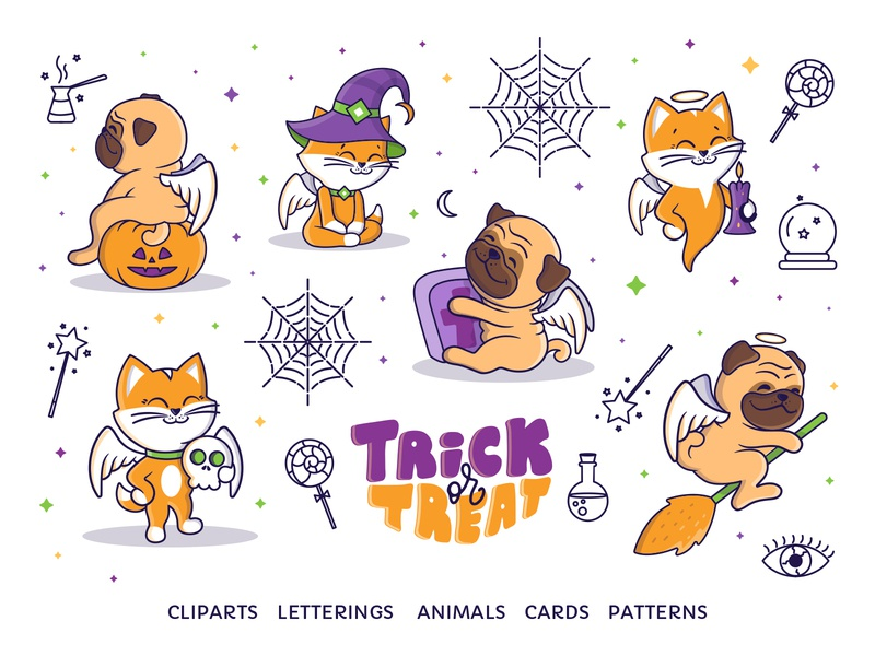 Set of Baby Angels for Halloween dog cat advertising designe baby angels autumn party halloween autumn icon cartoon animal vector character lettering illustration design flat logo