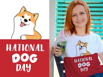 The cartoonish dog is good for National dogs day phrase quote card designposter shirt design akita dog dog day cartoon logo lettering character vector illustration flat design