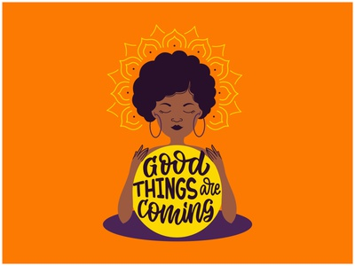 Afro woman is a magical african magic magical black girl woman girl afro logo cartoon lettering character vector flat illustration design