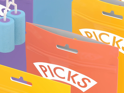 Picks | Resealable bag sweets bag looping animation design cinema4d 3d animation loop illustration c4d 3d dribble shot animation