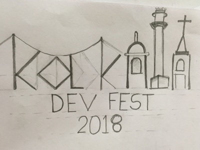GDG Kolkata pencil devfest gdg google india kolkata monuments logo design sketch illustration