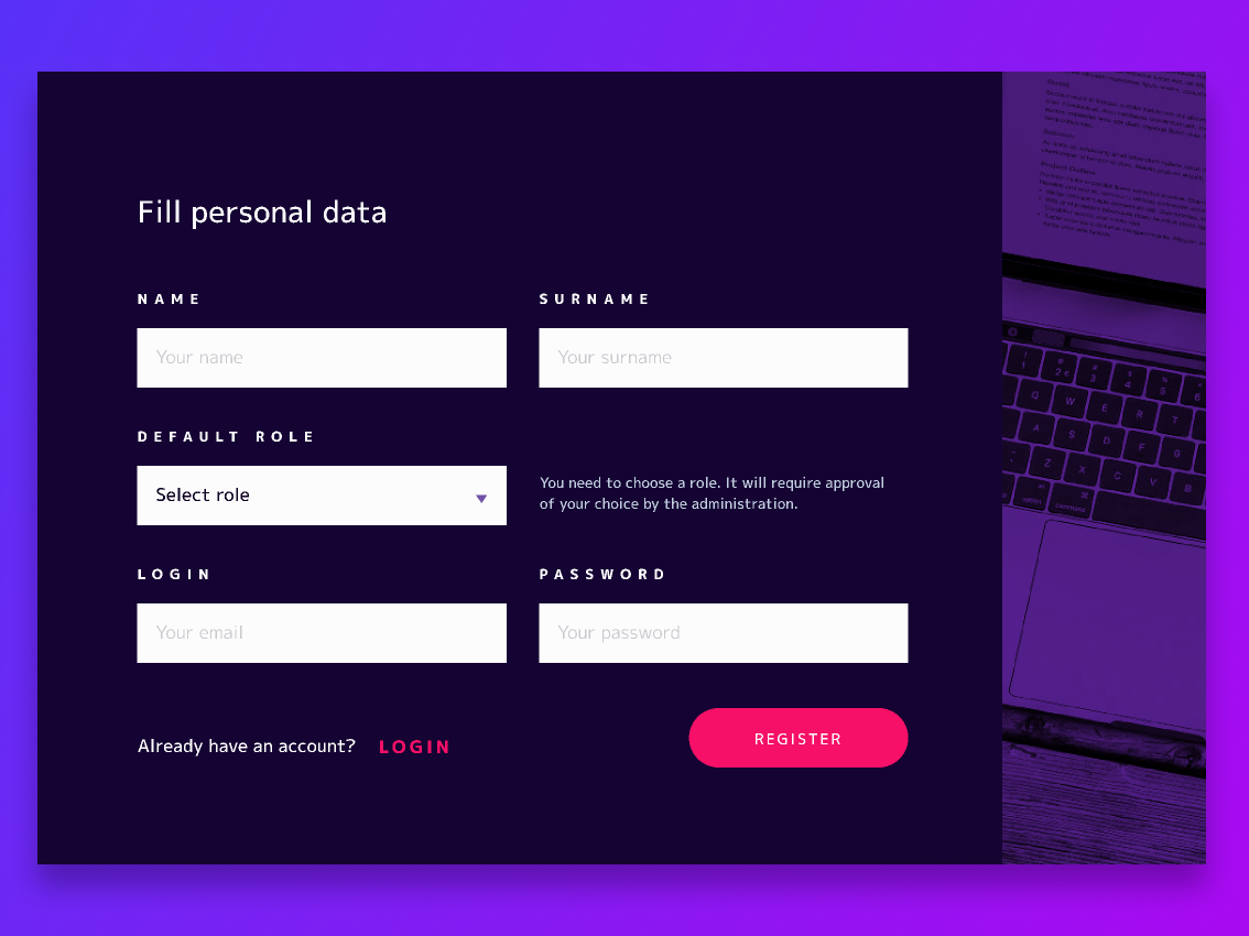 Create an account Form personal registration usability form design uxuidesign app  design user account register form ux  ui