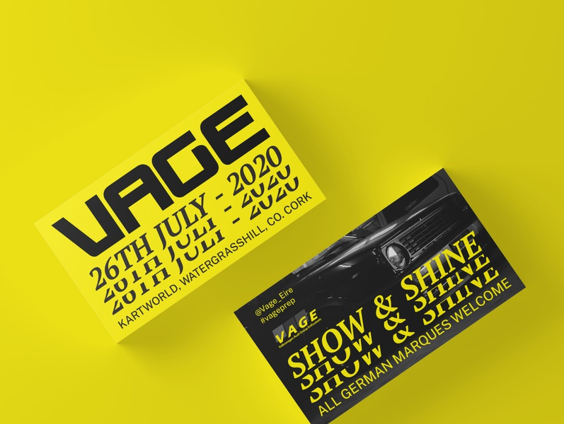 Vage 2020 Initial Showcards yellow car automotive photography typography graphic design design branding