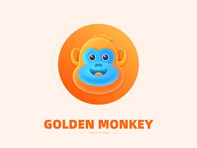 Golden monkey 动物 卡通 猴子 蓝色 橘色 黄色 红色 branding 图标 design