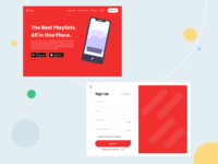 Landing page and Sign Up page for mock music service called Vyny