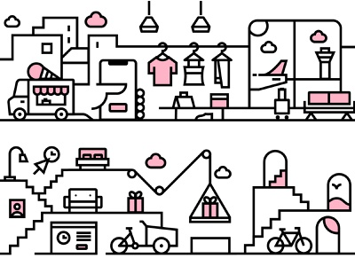 """Klarna """"Never Forget Test"""" illustrations minimal graphicdesign iconography icecream furniture shopping airport clothes delivery icon design vector illustration klarna"""