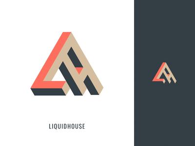 Liquid House logo design house pictogram symbol orange gray mark logo design identity creative concept color clean brand graphic design minimal flat vector branding logo design