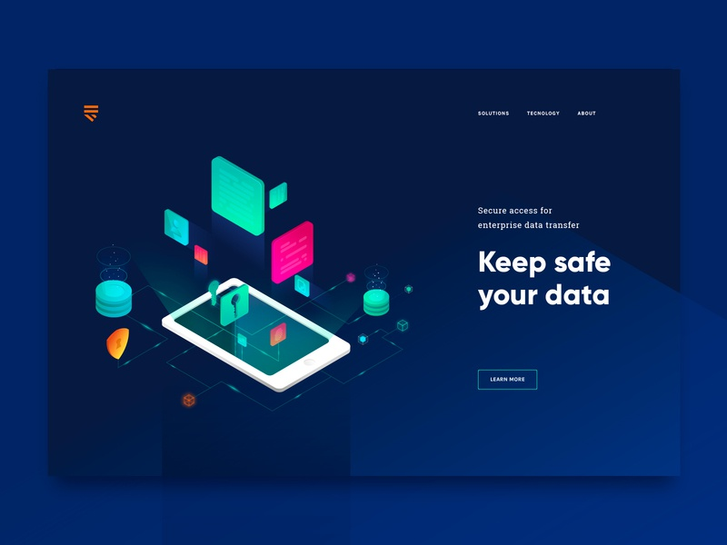 Cyber Security | Landing Page Header web design ui design header landing page dark security cyber security cryptography website web illustration design ui graphic design vector creative clean isometric minimal color
