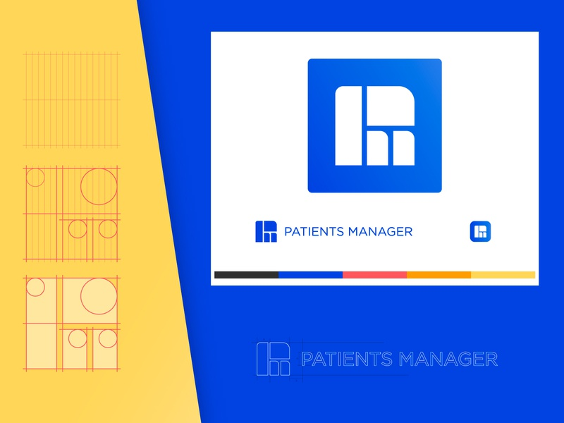 Patients Manager | App logo patients mockup minimal icon health creative graphic color clean mobile app mark logo design brand branding logo flat vector design graphic design