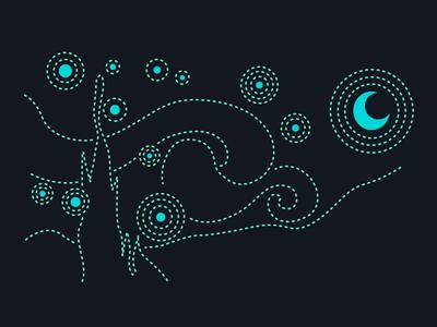 Illustrations for business card gif drum viking ship van gogh line identity green graphic design digital art creative color clean artwork minimal flat animation vector design illustration