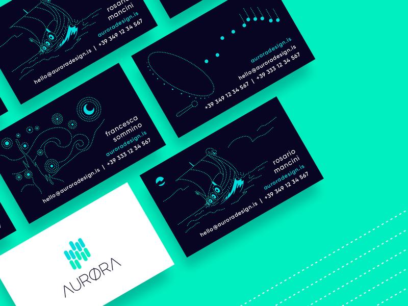 AURØRA business card simple concept identity green creative color clean card business card illustration mark brand logo design logo minimal flat vector branding graphic design design