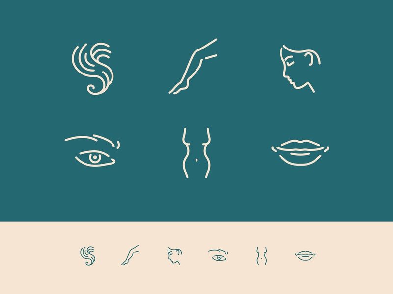 Beauty icons cosmetics leg body lips face eye hair iconography icon pictograms beauty icon pack icon set creative clean graphic design flat color vector design