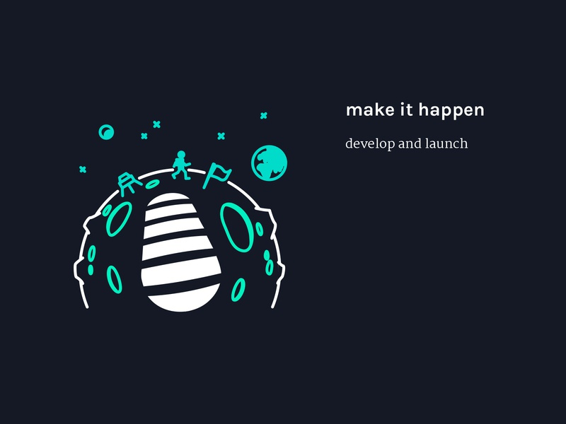Step 4 - make it happen | Illustration moon space astronaut footprint website vector sketch illustrator illustration icon graphic design flat drawing design studio design agency design creative agency creative concept color