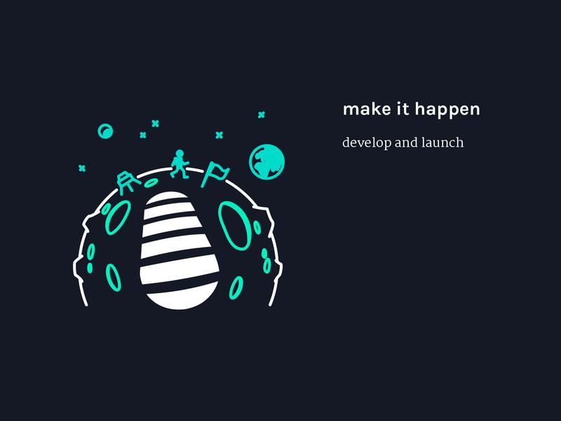 Step 4 - make it happen | Illustration moon space astronaut footprint website vector sketch illustrator illustration icon graphic design flat drawing design studio design agency design creative agency creative concept color