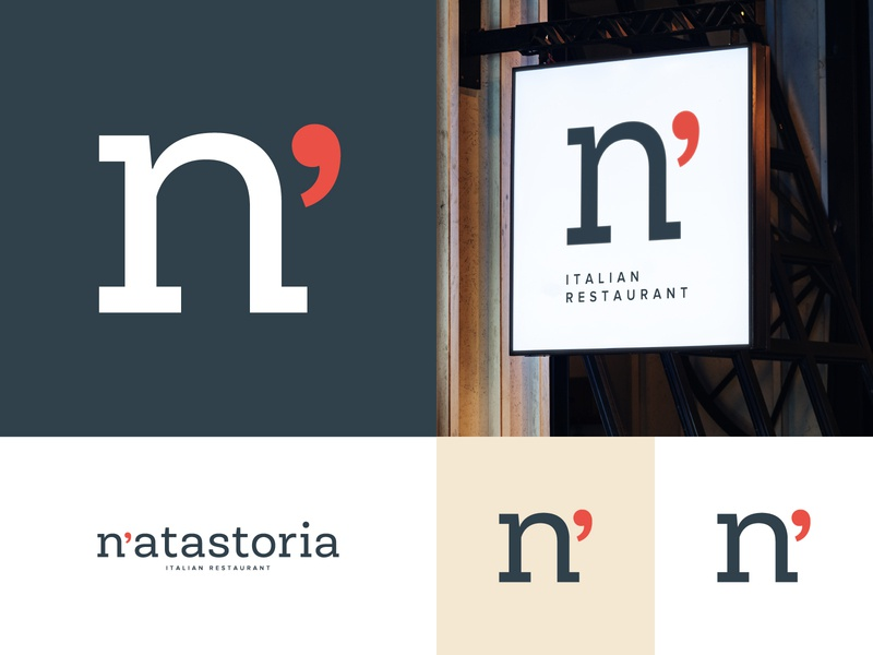 N'atastoria brand design sign signboard mark identity restaurant food apostrophe n logo logo letter design agency design studio creative agency concept branding logo brand color graphic design vector design