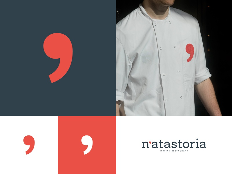 N'atastoria branding symbol red mark identity chef apron restaurant food design agency concept design studio creative agency branding brand logo graphic design color vector design apostrophe