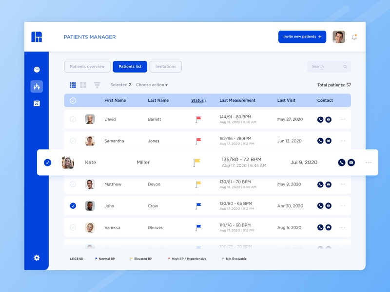 Health App | Patients list concept design agency design studio blue product design doctor patient menu interface icon health list ux ui graphic design color vector design app adobe xd