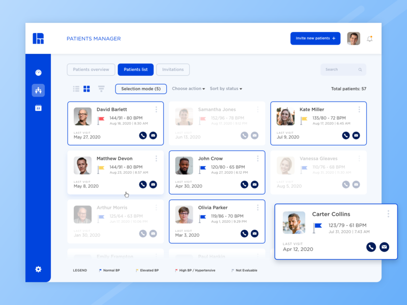Health App | Grid view and Selection mode vector grid selection ux ui product design patient list interface icon health graphic design doctor design studio design agency design concept color app adobe xd