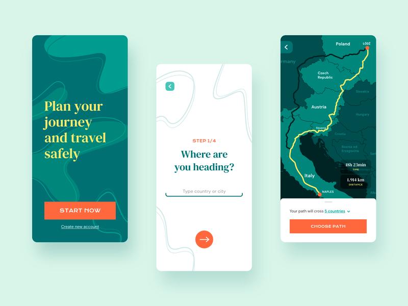 Travel Safe Mobile App graphic design design creative ui ux vector adobe xd app concept flat interface mobile travel ui design user interface user experience ux design map