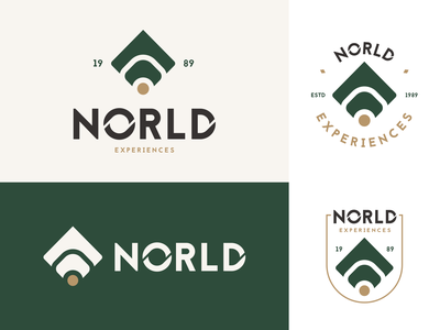 Norld logo design flat creative logotype mark identity travel agency green nature travel ux ui typography brand branding logo design studio concept vector graphic design design