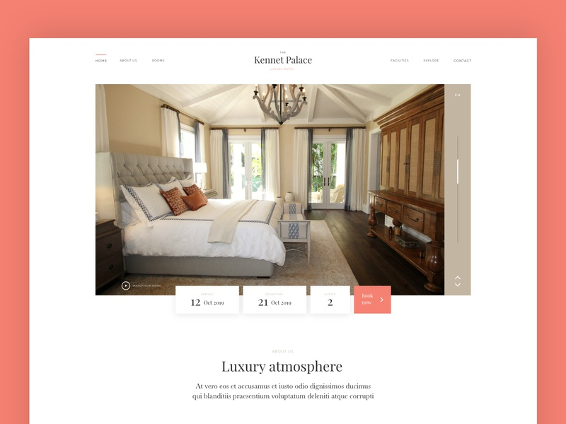 Luxury Hotel web page modern clean minimal interface design graphic design white color room landing page template page web hotel ux ui web design website homepage booking