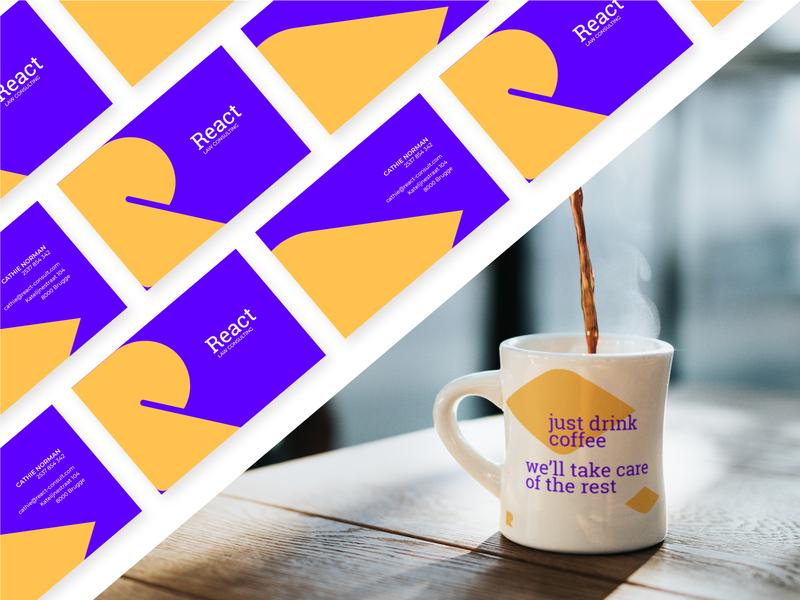 React | Business card & Mug purple print monogram logo design identity graphic design graphic yellow color mug business card mark brand identity brand minimal flat branding vector logo design
