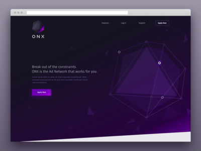 ONX Website geometric landing page website