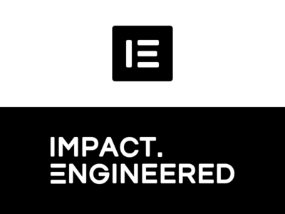 Impact Engineered logo black and white branding logo