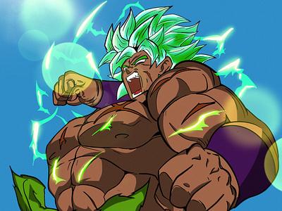 BROLY DBZ angry animeart anime dbs broly fanart dragonball character design character manga procreate illustration draw art