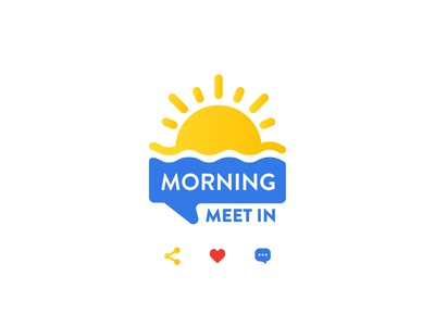"Talk-show logo ""Morning Meet IN"" branding illustration logo"