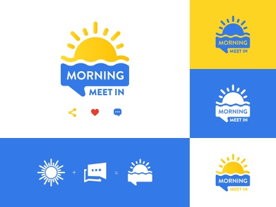 "TalkShow Logo - ""Morning Meet IN"" mark video icon identity design logo illustration branding"