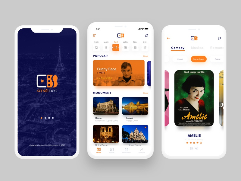 CINÉ-BUS: App for Festival Ciné-Monument interface design interface illustration logo app application mobile ui design ux ui