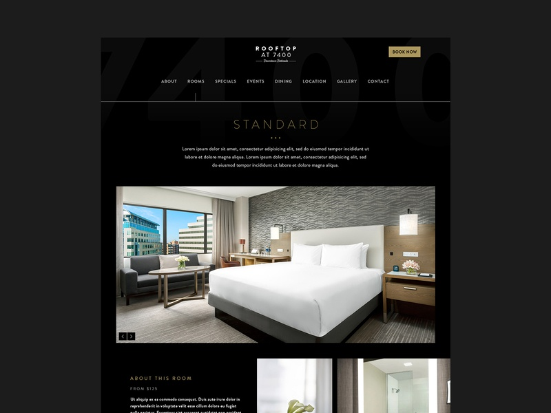 Rooms Page website concept website design layout hotel branding hotel booking web design