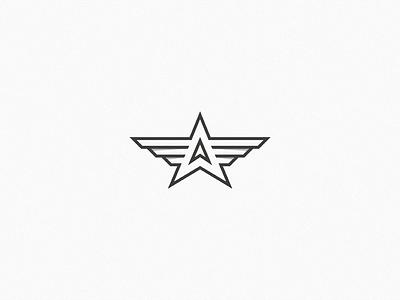 A + Star + Wings a star wing brand initial letter lettermark monogram dizzyline