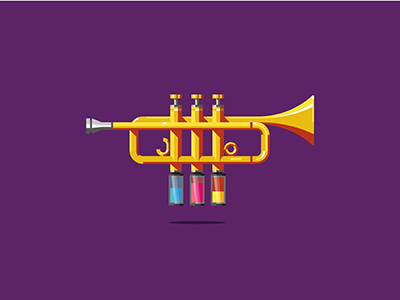 Trumpet Painting trumpet music colors cyan magenta yellow pistons paint primary colors dizzyline