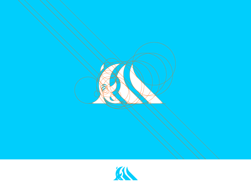 logo shark wave pictogram 3D simulation color palette brand-development brand-creation identity