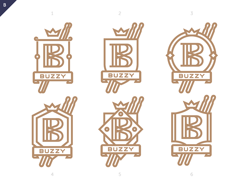 logo badge stick drum lineart vector brand identity dizzyline yannick charlery